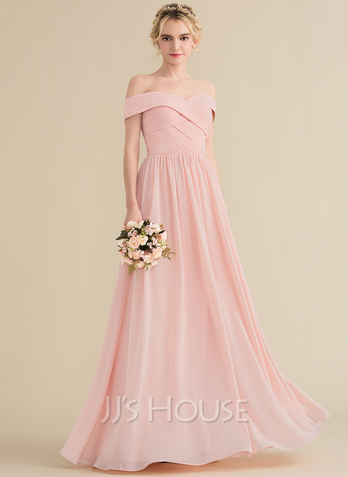 fabe23ada26c A-Line/Princess Off-the-Shoulder Floor-Length Chiffon Bridesmaid Dress. Loading  zoom