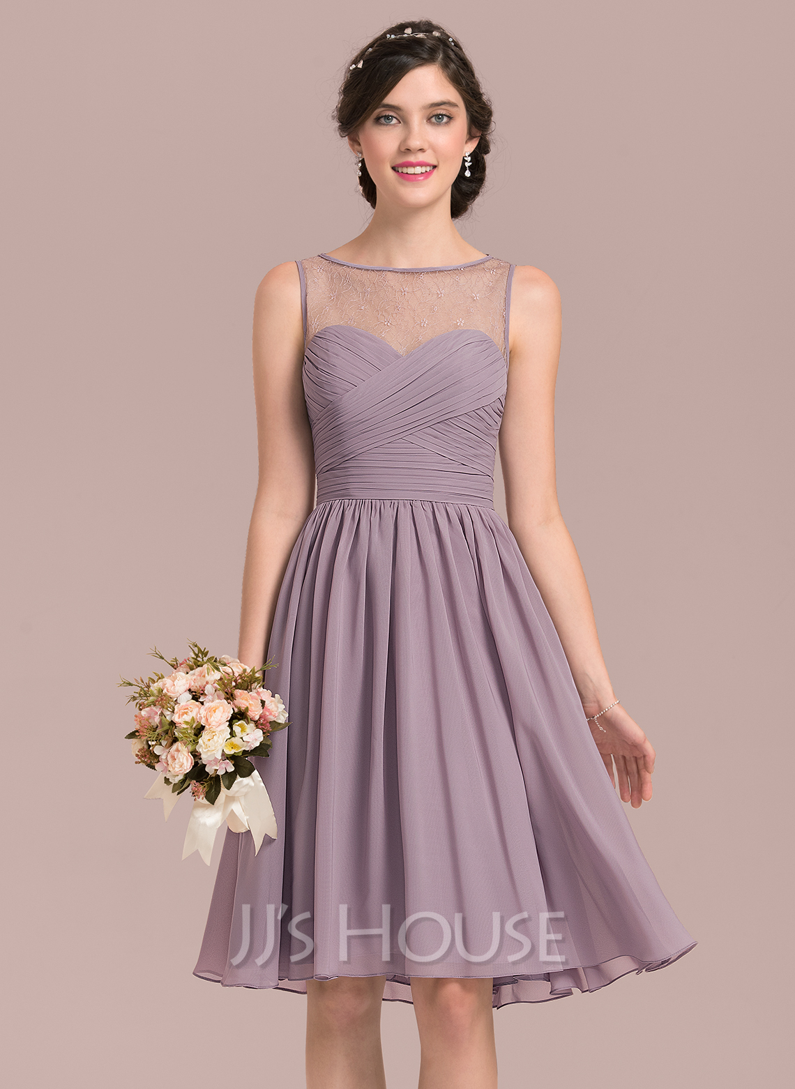 Scoop Neck Knee-Length Chiffon Lace Bridesmaid Dress With Ruffle