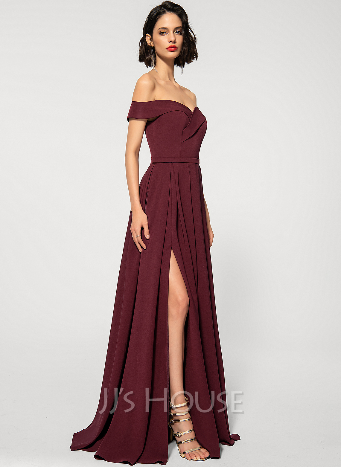 A-Line Off-the-Shoulder Floor-Length Stretch Crepe Evening Dress With Pockets
