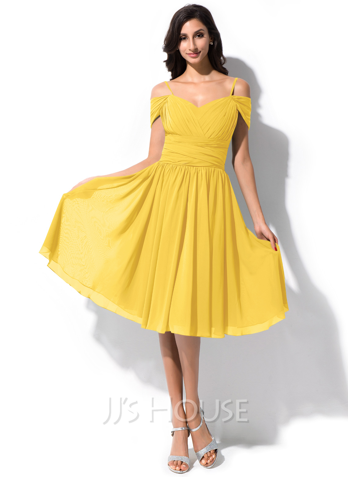 6daa5abb62 A-Line Princess Off-the-Shoulder Knee-Length Chiffon Bridesmaid Dress.  Loading zoom