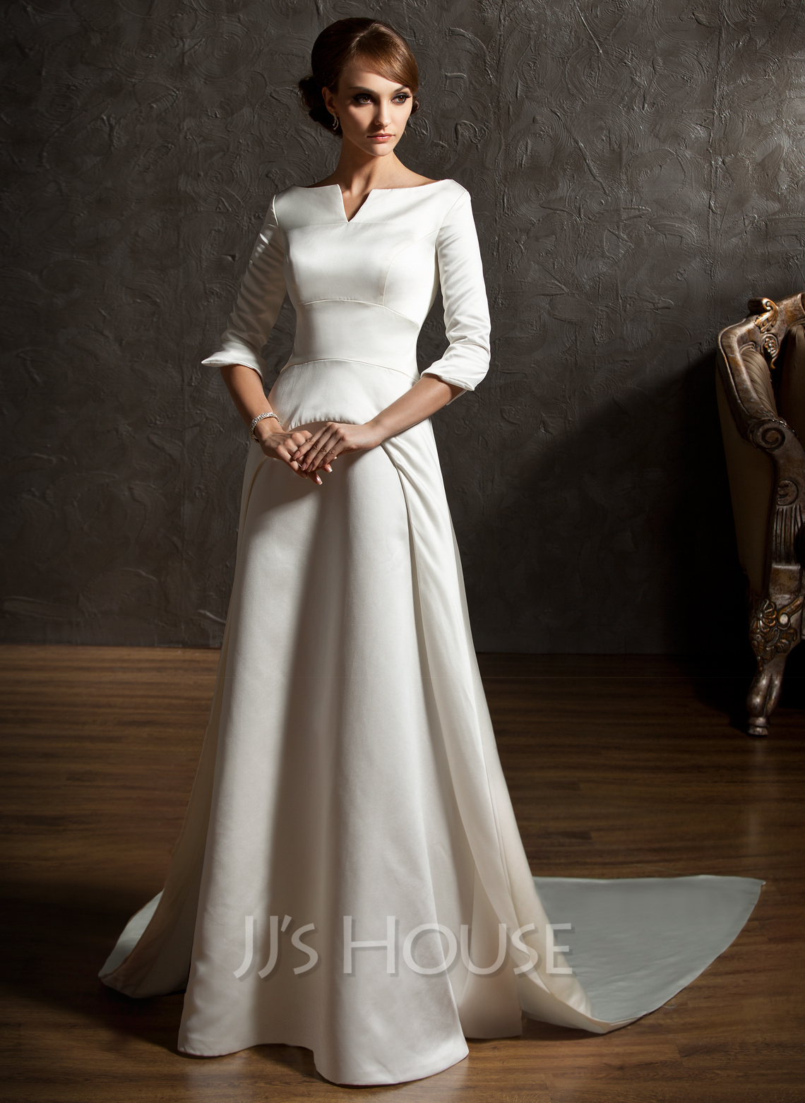 A-Line/Princess Off-the-Shoulder Watteau Train Satin Wedding Dress ...