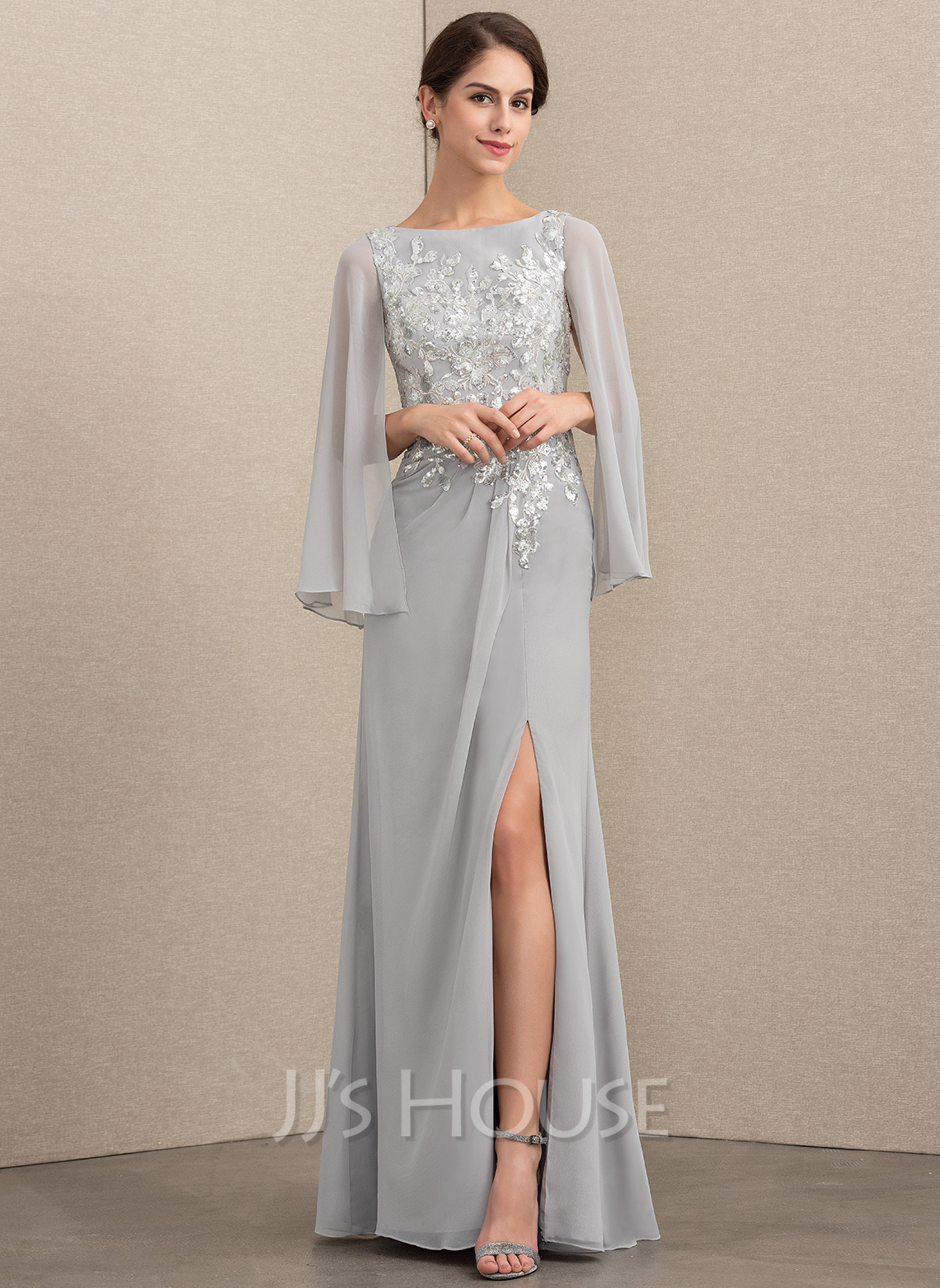 fbc7591d962 A-Line Princess Scoop Neck Floor-Length Chiffon Sequined Mother of the  Bride. Loading zoom