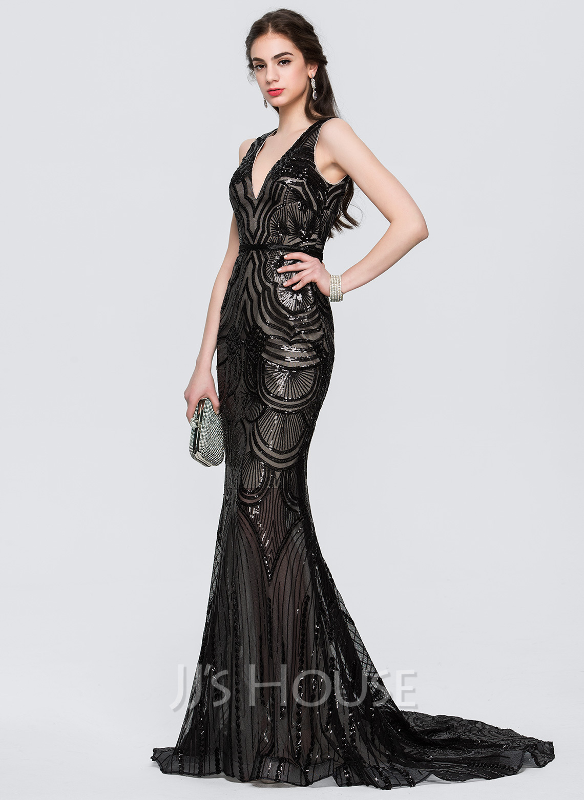 Sweapt Train Mermaid Trumpet Prom Dress
