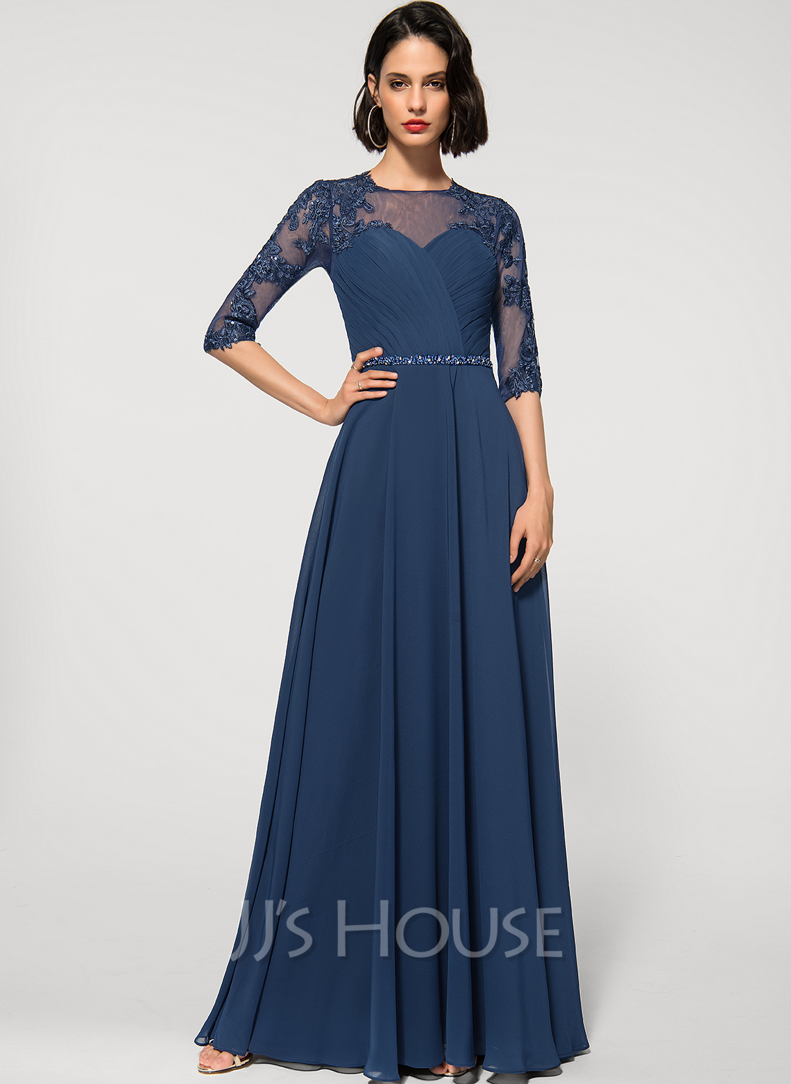 A-Line Scoop Neck Floor-Length Chiffon Lace Evening Dress With Beading