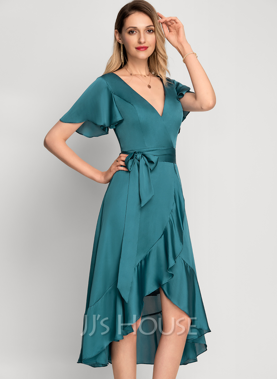 V-Neck Asymmetrical Cocktail Dress With Cascading Ruffles