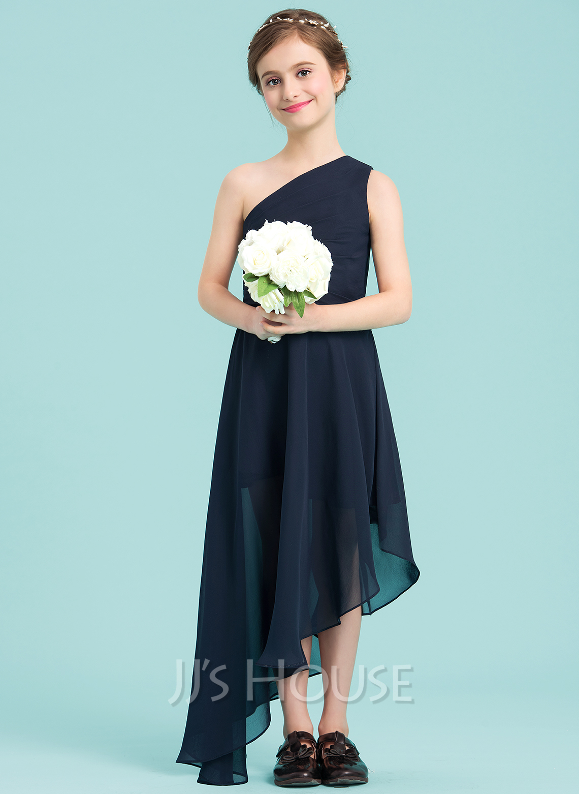 A lineprincess one shoulder asymmetrical chiffon junior a lineprincess one shoulder asymmetrical chiffon junior bridesmaid dress with ruffle loading zoom ombrellifo Image collections