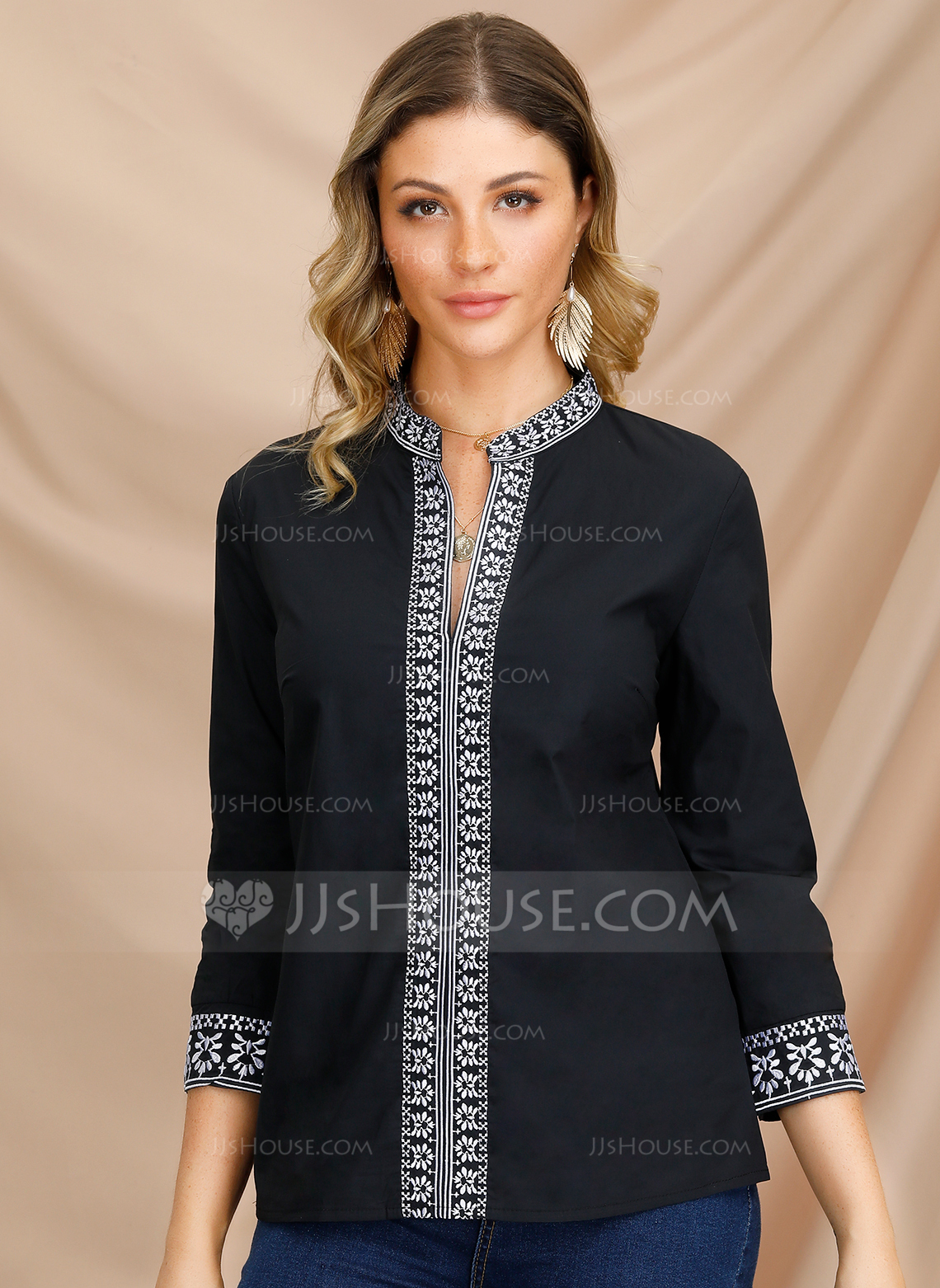 Long Sleeves Polyester V Neck Bluzlar