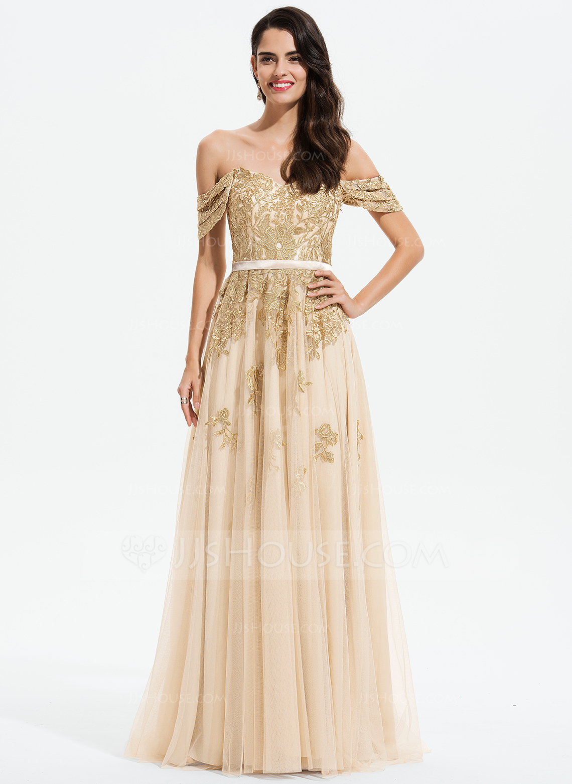 A-Line Off-the-Shoulder Sweep Train Tulle Prom Dresses With Lace