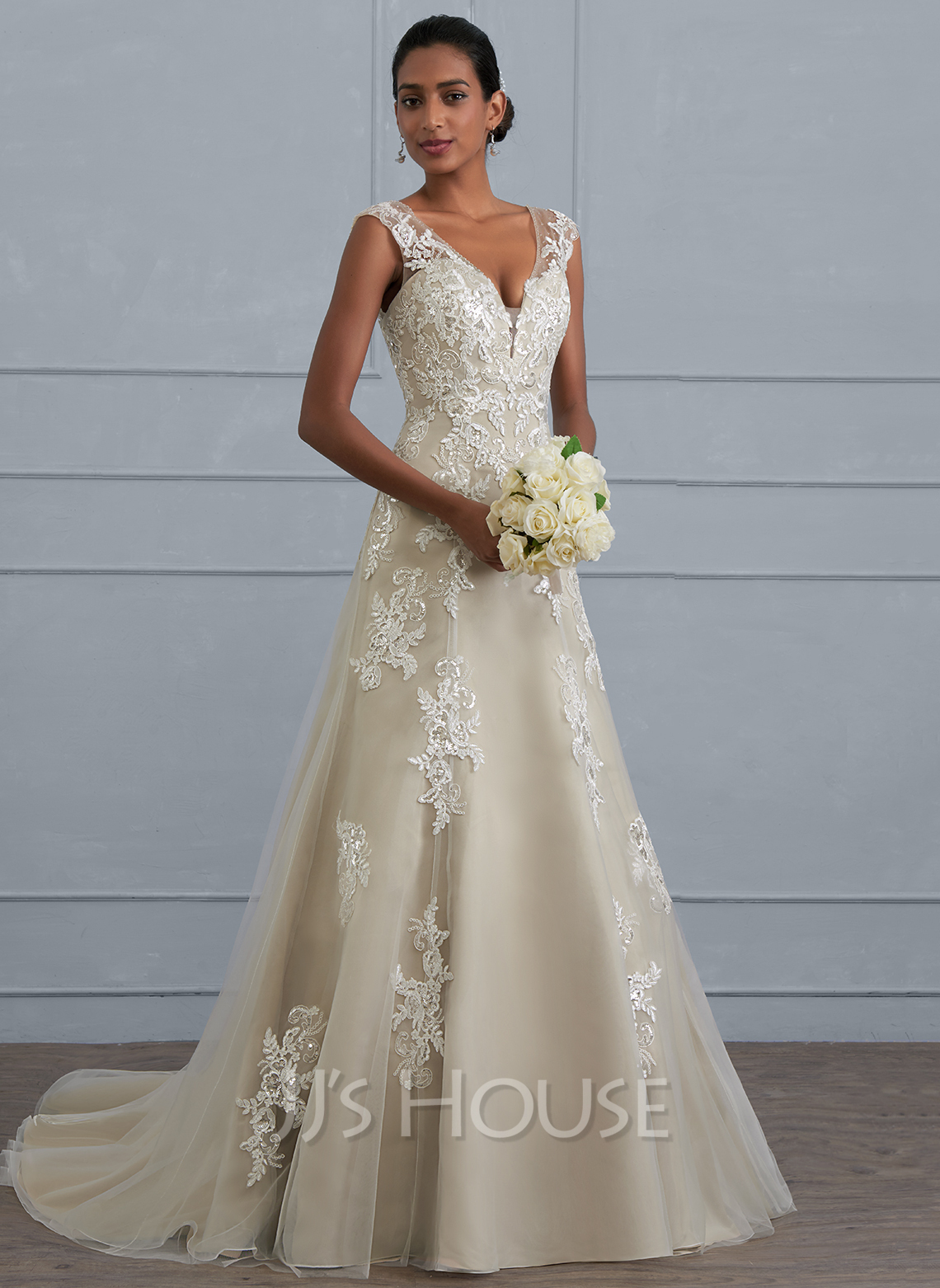 A Lineprincess V Neck Court Train Tulle Lace Wedding Dress With Beading Sequins 002117023