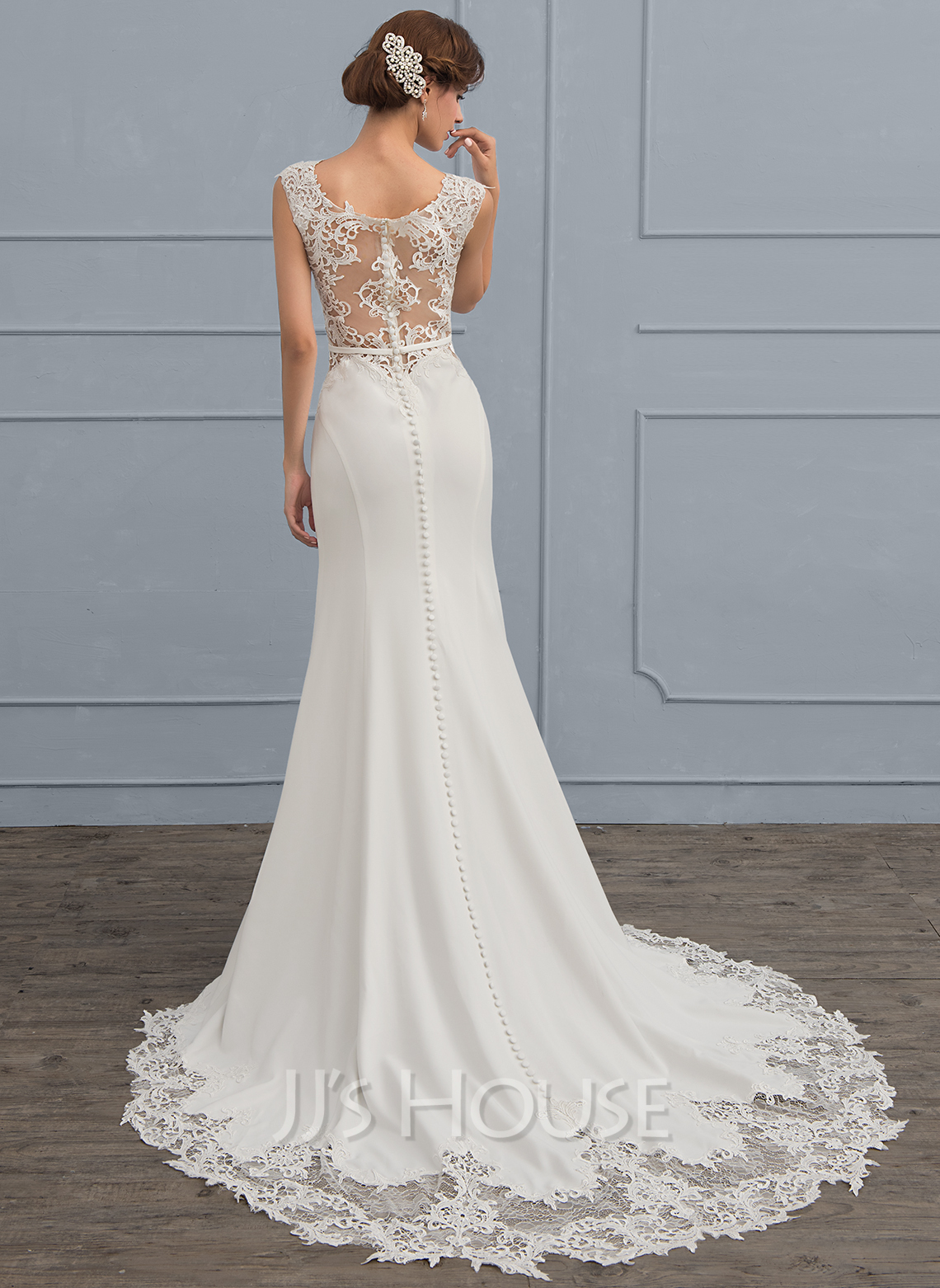 b78e8804686f Trumpet/Mermaid Scoop Neck Court Train Stretch Crepe Wedding Dress. Loading  zoom