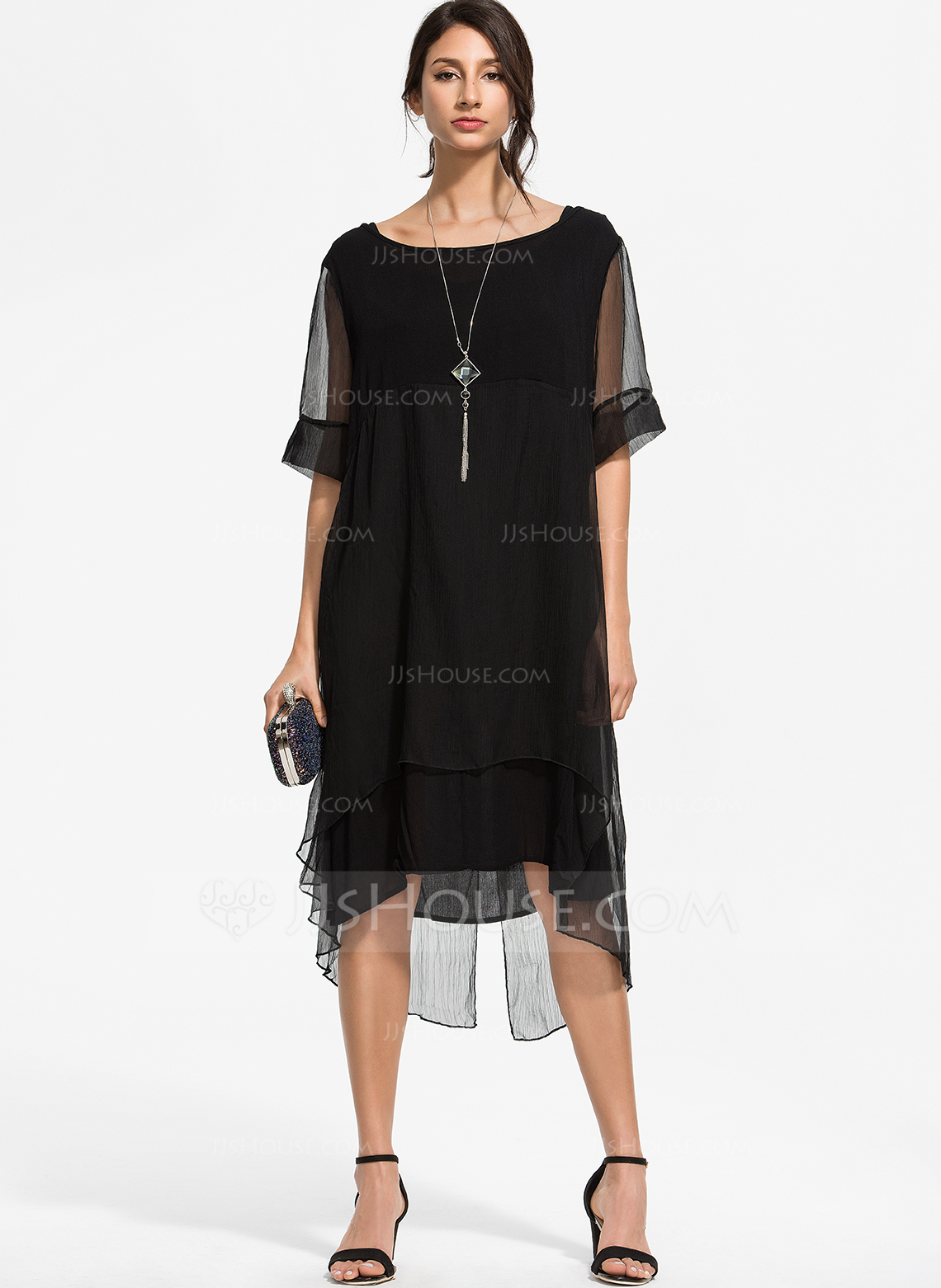 Polyester With Stitching/Solid Knee Length Dress