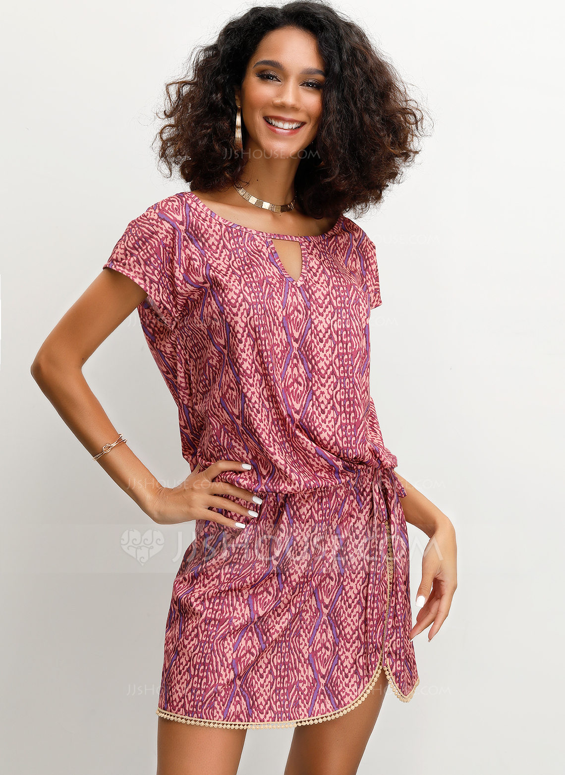 Polyester With Print/Slit Above Knee Dress