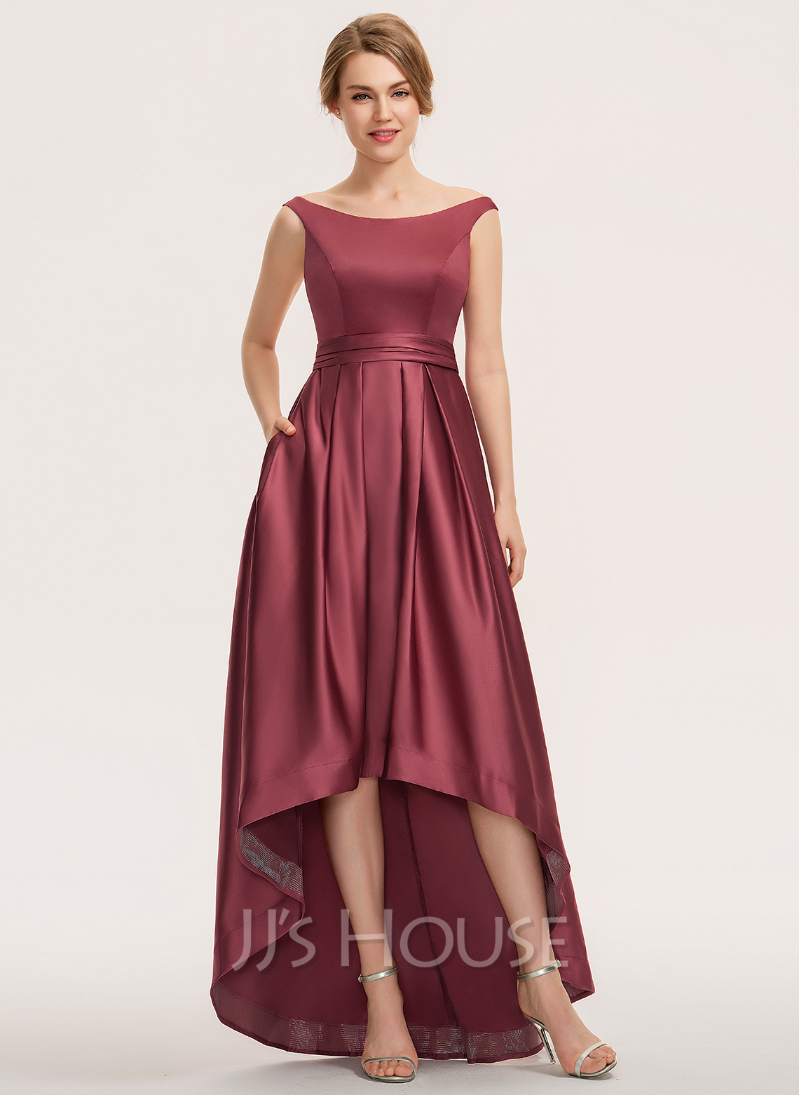 Off-the-Shoulder Asymmetrical Satin Bridesmaid Dress With Ruffle Pockets