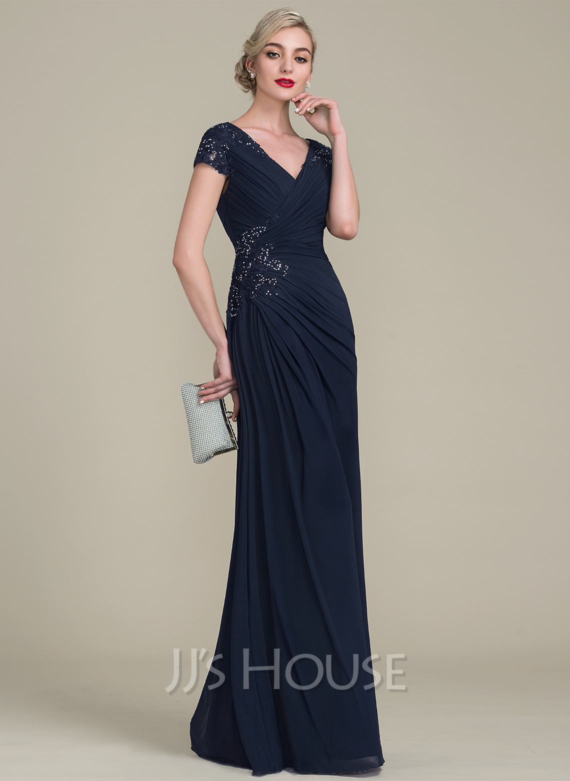 A-Line V-neck Floor-Length Jersey Mother of the Bride Dress With Beading