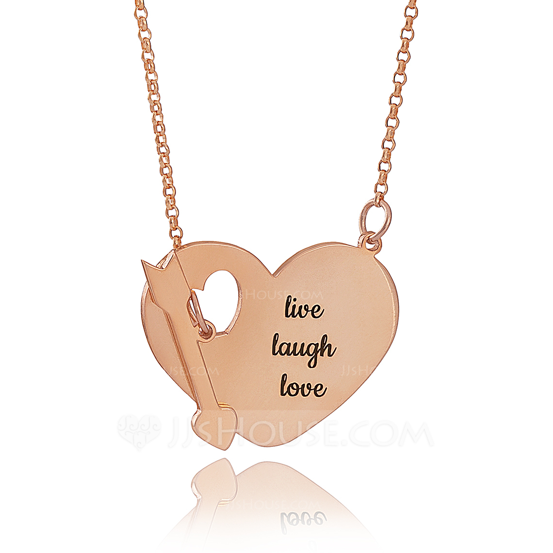 Custom 18k Rose Gold Plated Silver Engraving/Engraved Heart Necklace With Arrow - Christmas Gifts