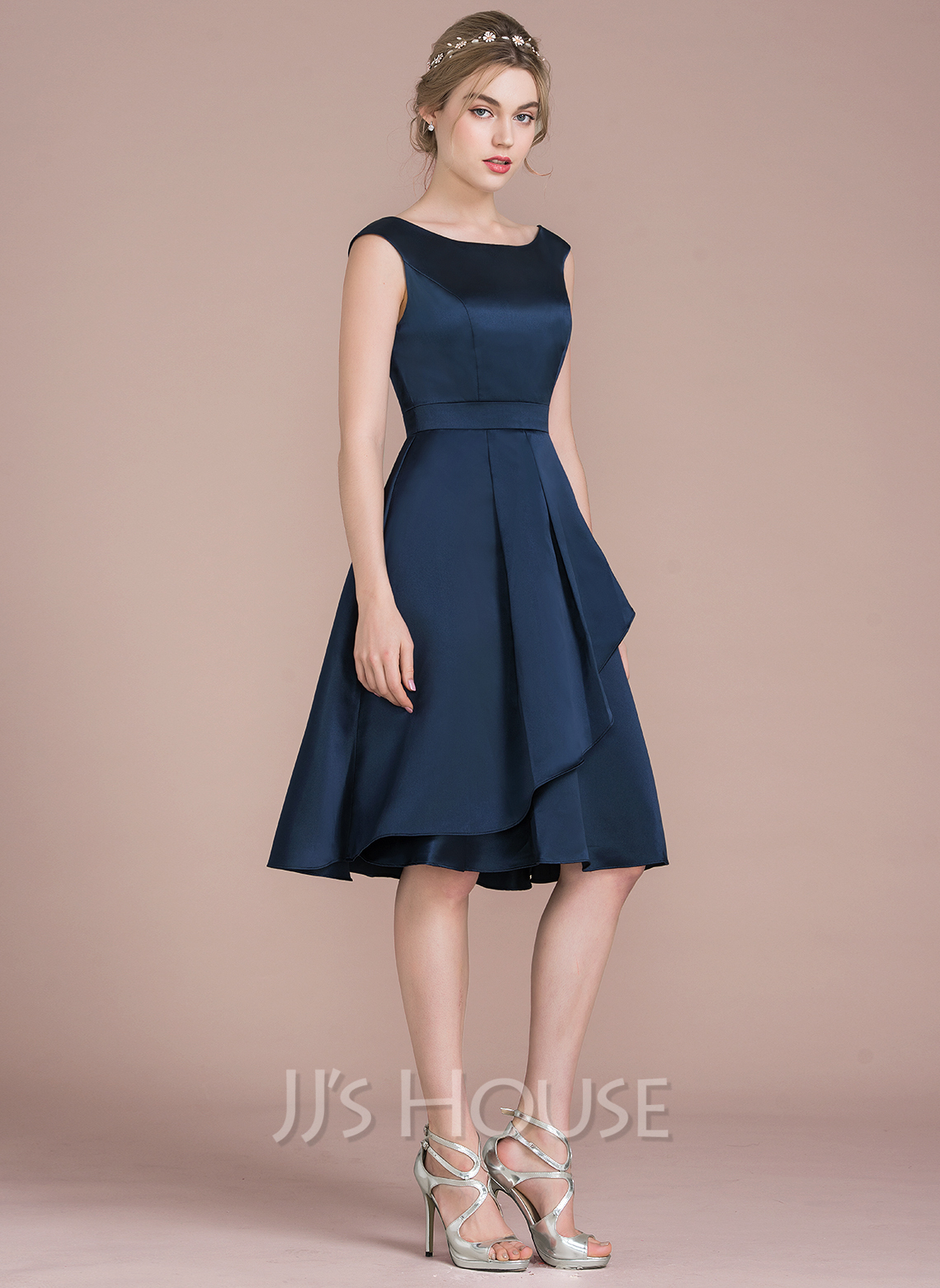 ee6f4cce7c94 A-Line/Princess Scoop Neck Knee-Length Satin Bridesmaid Dress With  Cascading Ruffles. Loading zoom