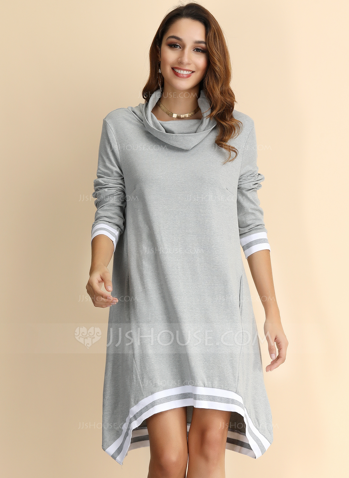 Polyester With Knitting Above Knee Dress