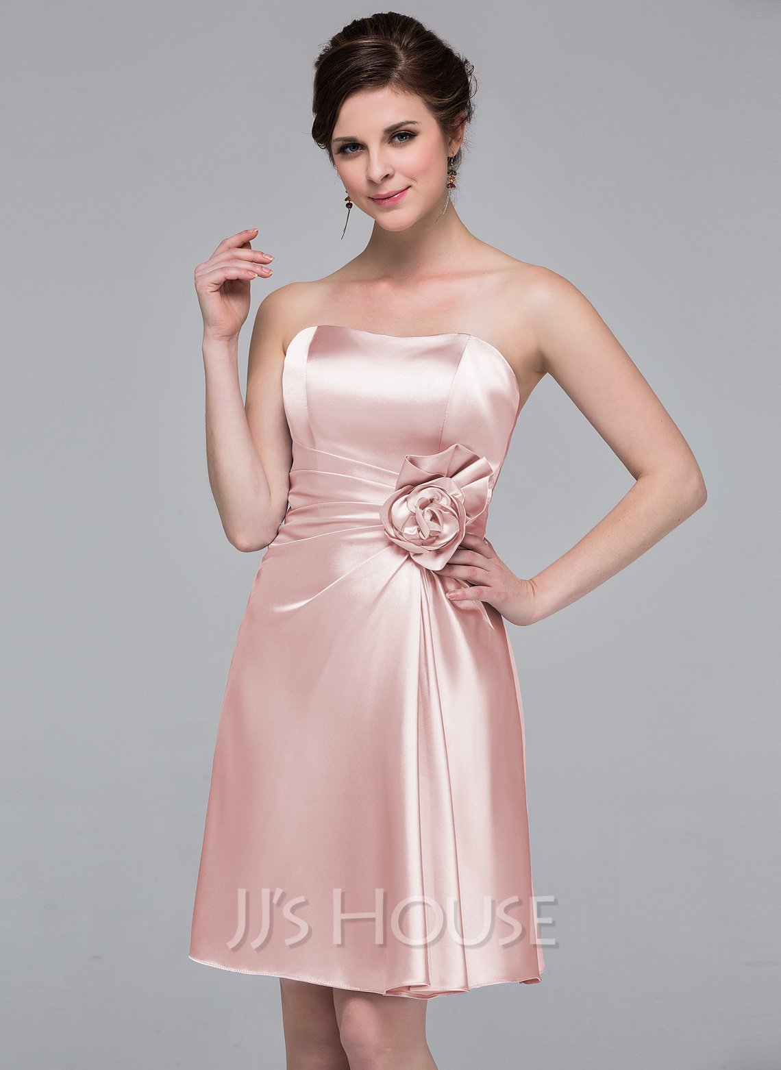 98d610ec323 Sheath/Column Sweetheart Knee-Length Charmeuse Bridesmaid Dress With  Flower(s). Loading zoom
