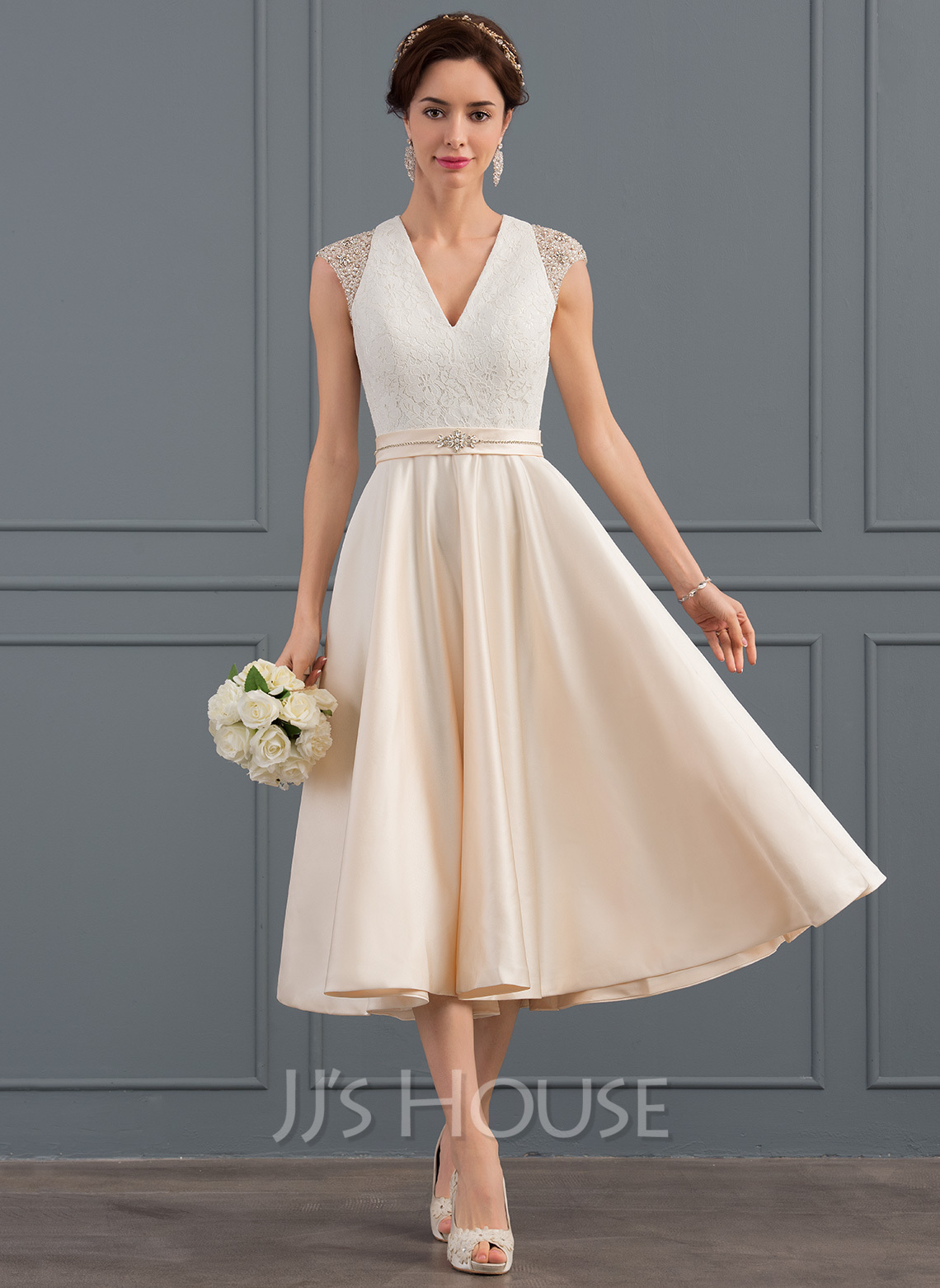 eb0e31b9ee2a A-Line V-neck Tea-Length Satin Wedding Dress With Beading Sequins. Loading  zoom