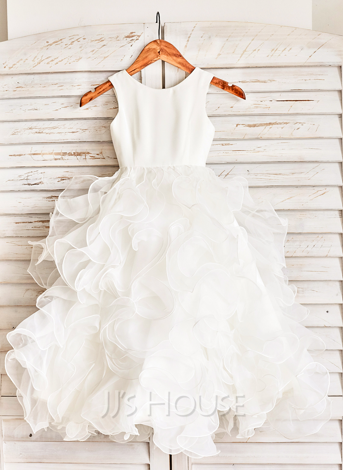 Floor-length Flower Girl Dress - Organza Sleeveless Scoop Neck With Ruffles