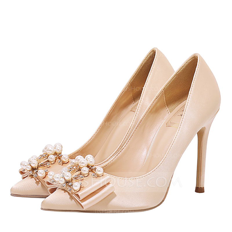 5addf7238b40 Women s Satin Stiletto Heel Closed Toe Pumps With Bowknot Crystal. Loading  zoom