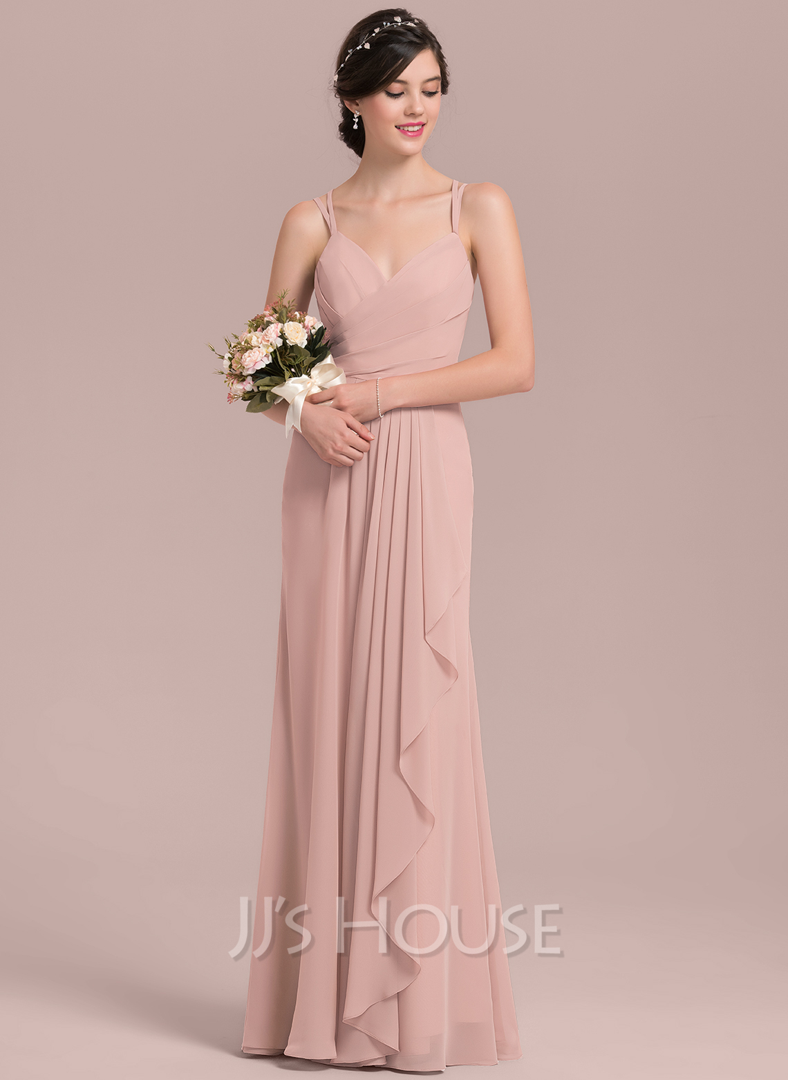 50d775995a3f A-Line Princess Sweetheart Floor-Length Chiffon Bridesmaid Dress With  Cascading Ruffles. Loading zoom