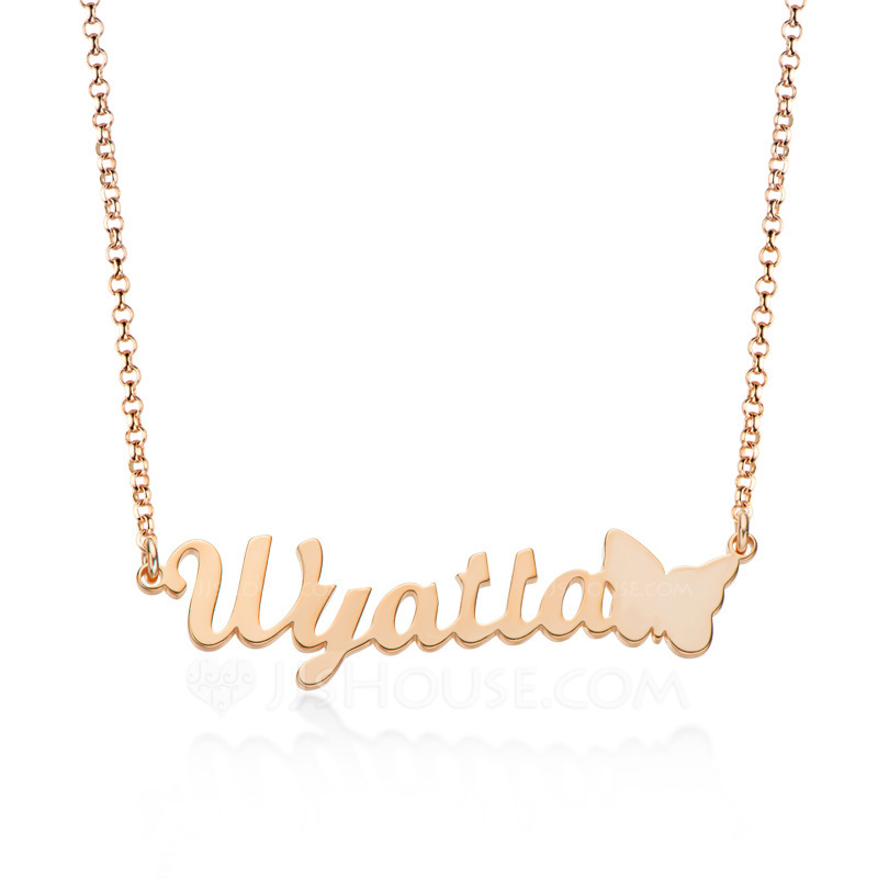 Custom 18k Rose Gold Plated Letter Name Necklace With Butterfly - Birthday Gifts