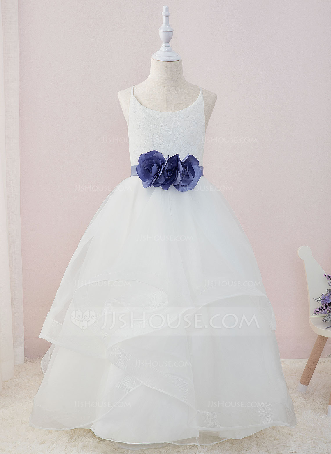 Ball-Gown/Princess Floor-length Flower Girl Dress - Organza/Satin/Lace Sleeveless Scoop Neck With Sash/Flower(s) (Detachable sash)