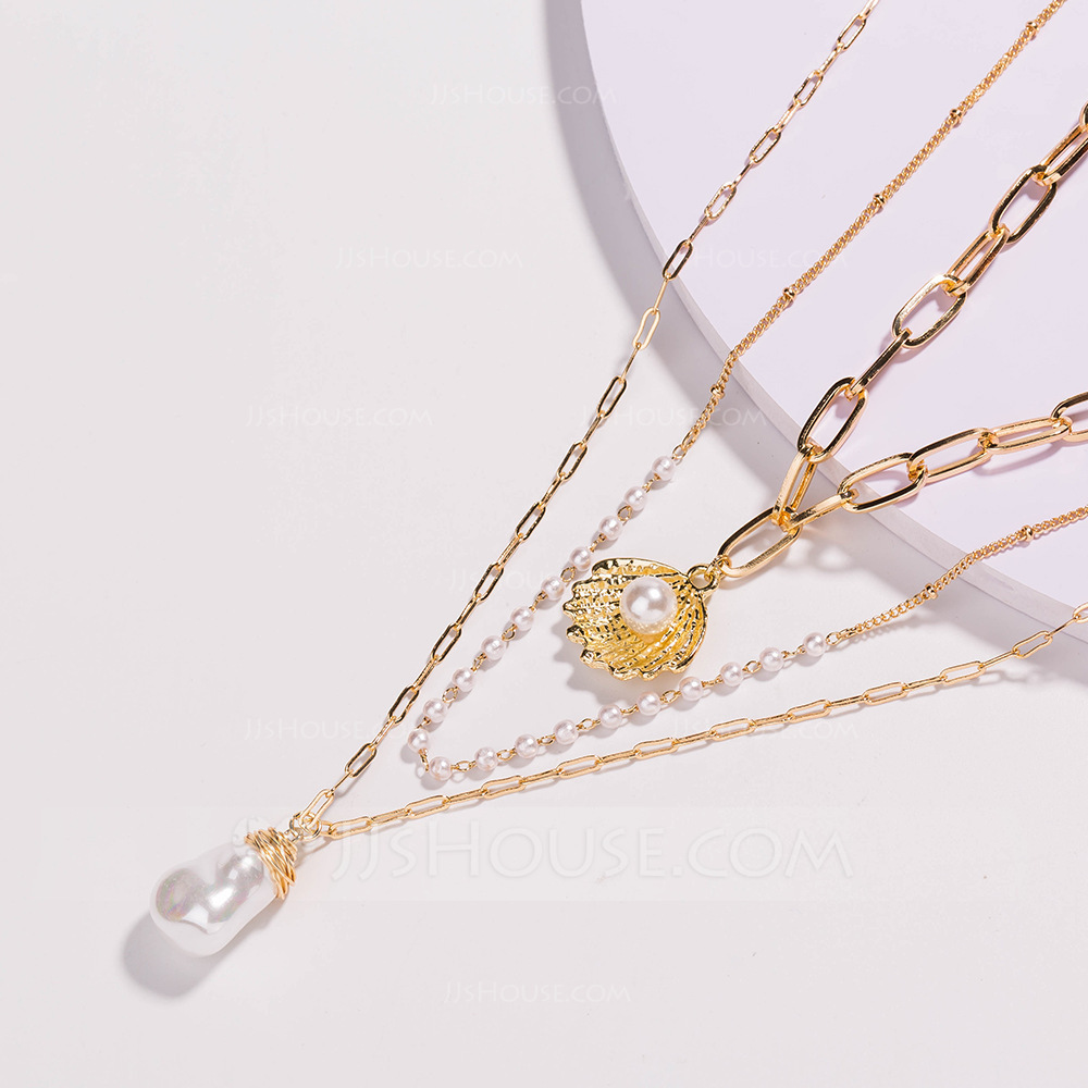 Elegant Alloy Pearl Necklaces For Bride/For Bridesmaid/For Mother
