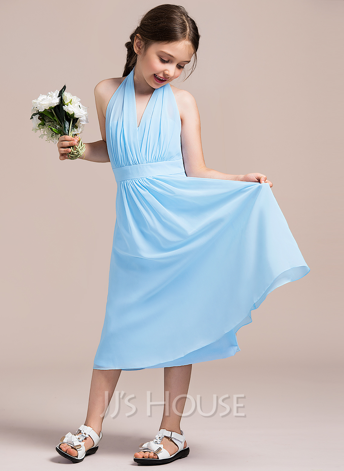 Halter Tea-Length Chiffon Junior Bridesmaid Dress With Ruffle