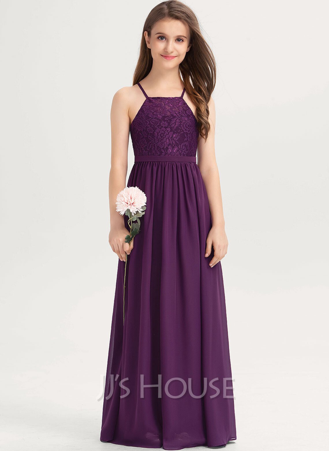 Square Neckline Floor-Length Chiffon Lace Junior Bridesmaid Dress With Bow(s)