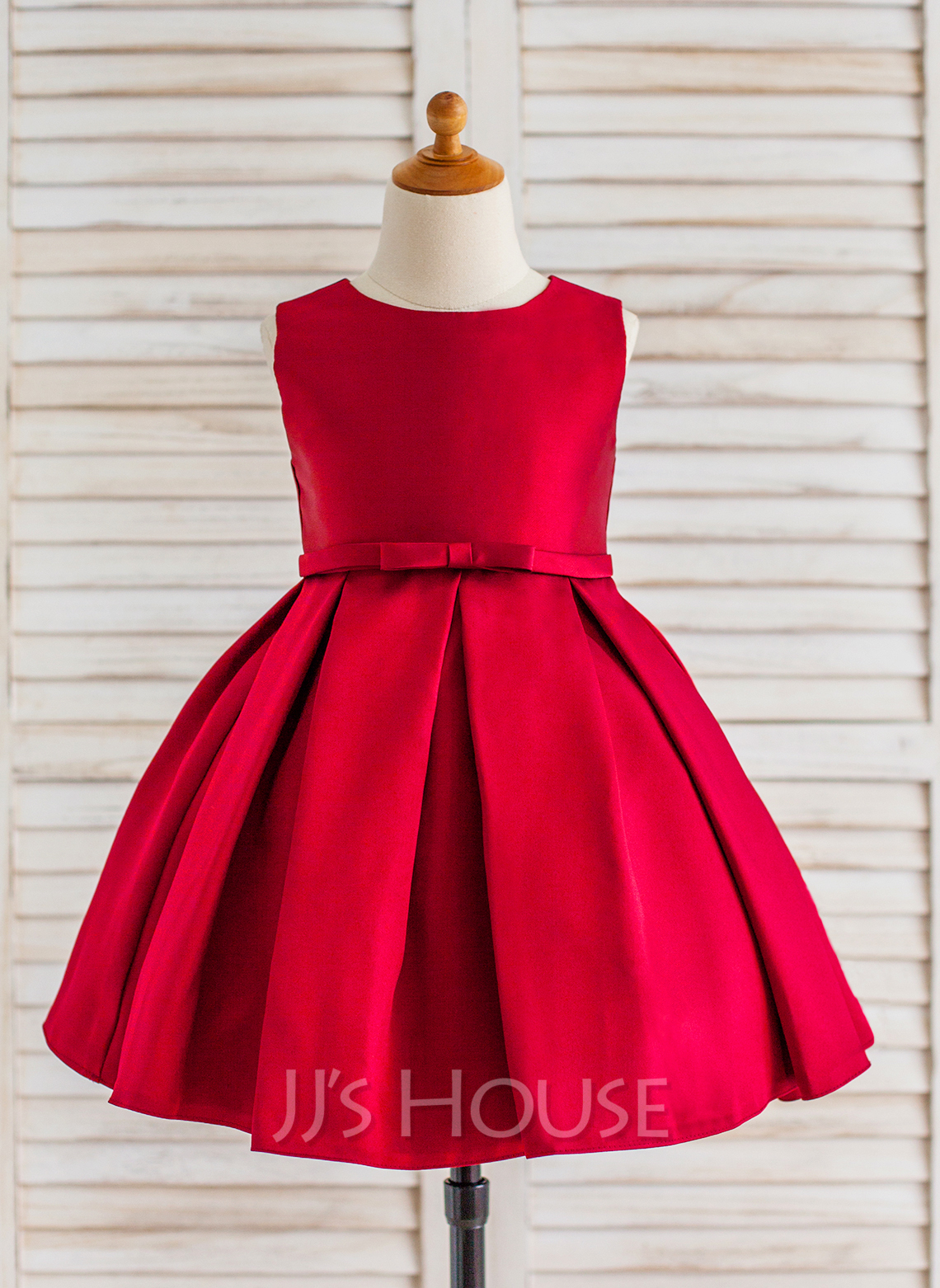 Knee-length Flower Girl Dress - Satin Sleeveless Scoop Neck With Ruffles