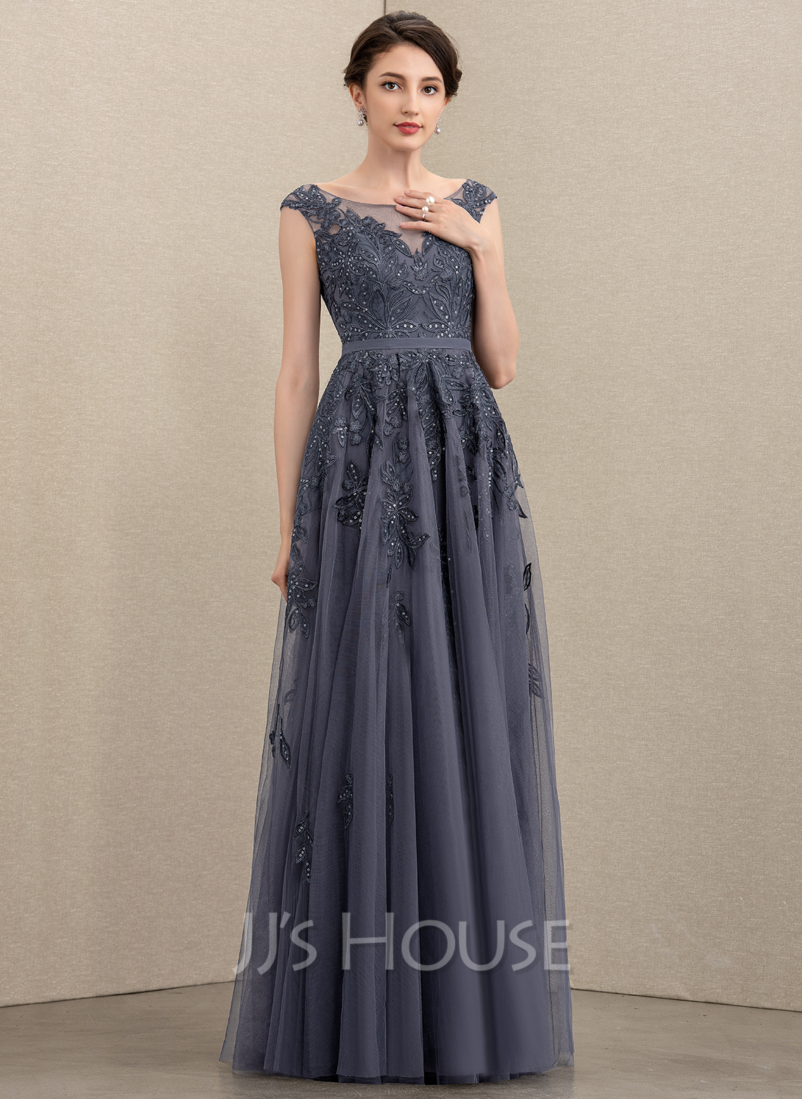 A-Line Scoop Neck Floor-Length Tulle Lace Mother of the Bride Dress With Sequins