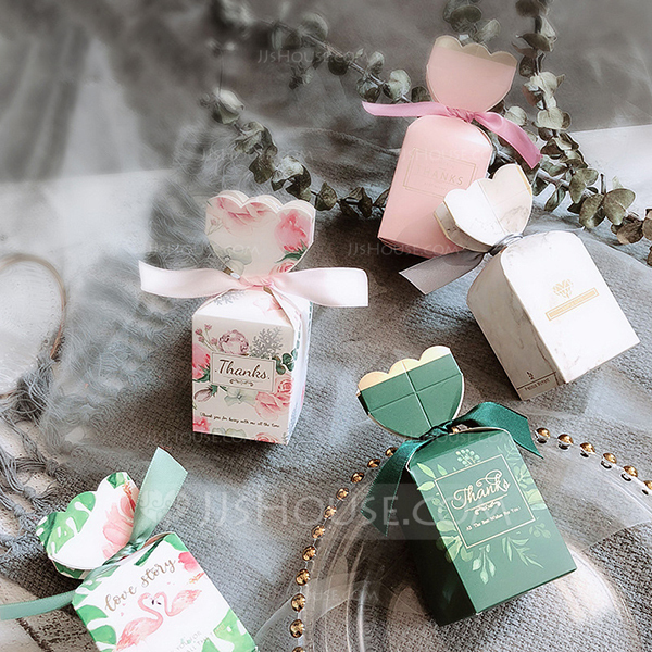 Pretty Floral Theme/Nice Candy Shaped Card Paper Favor Boxes & Containers With Ribbons (Set of 20)