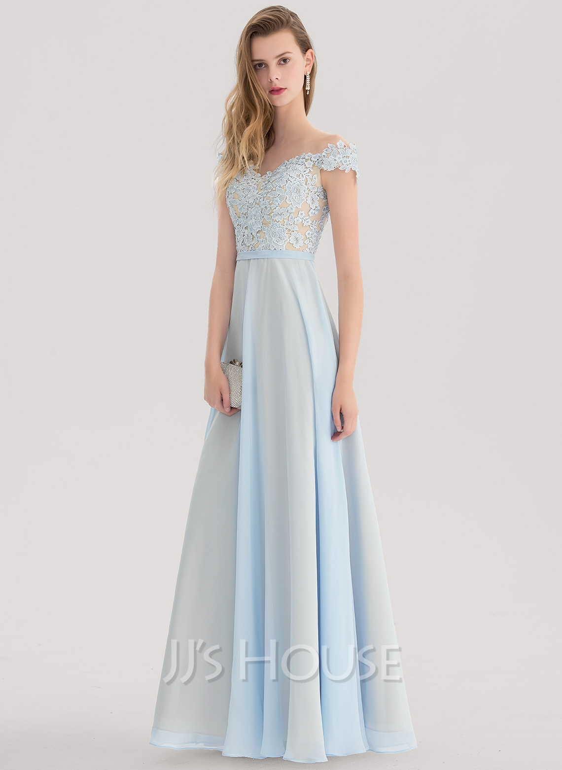 A linie princess linie off the schulter bodenlang chiffon for Festliche kleider fa r teenager