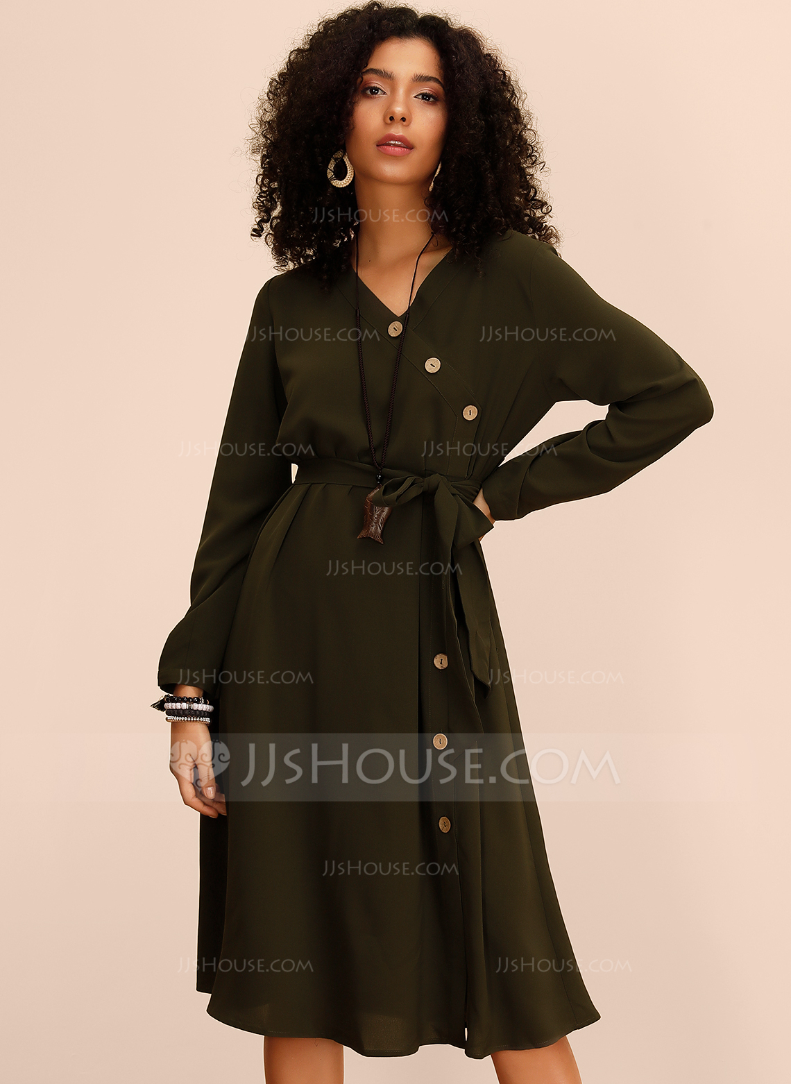 Polyester With Button/Solid/Slit Knee Length Dress