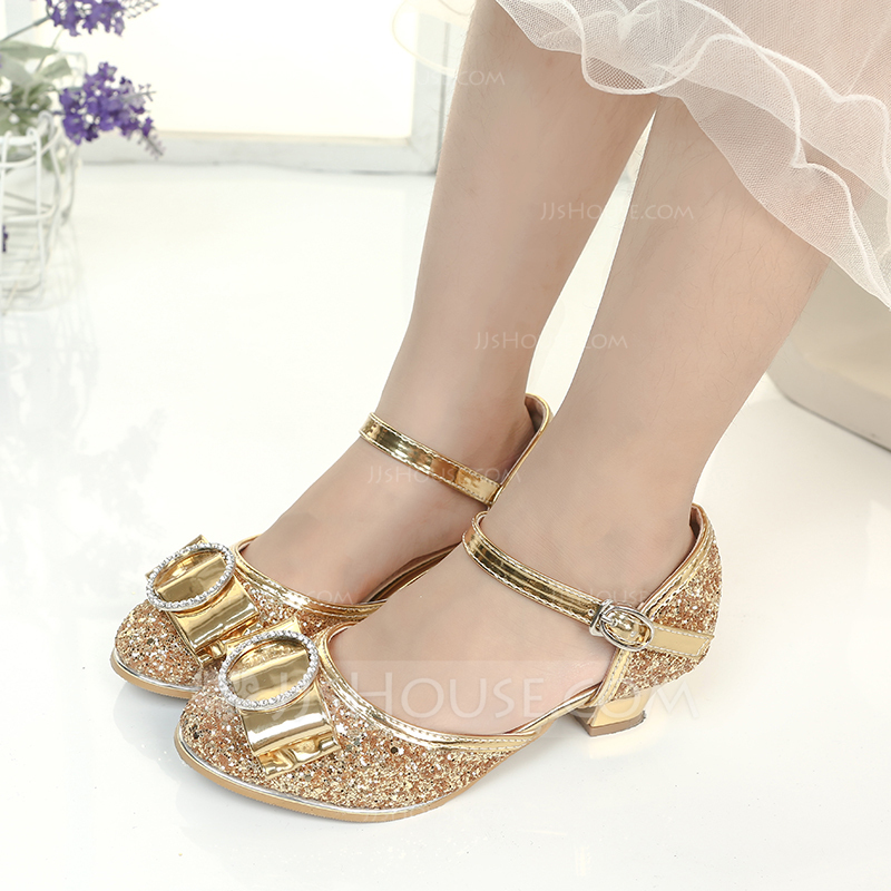 Girl's Closed Toe Sparkling Glitter Flower Girl Shoes With Bowknot