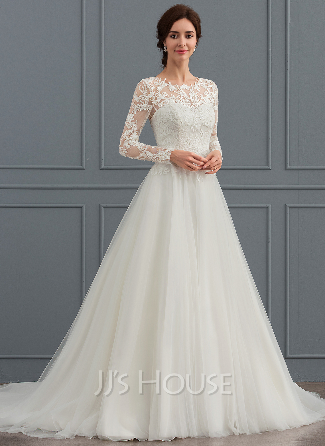 Ball gown scoop neck sweep train tulle wedding dress for Jjs house wedding dresses