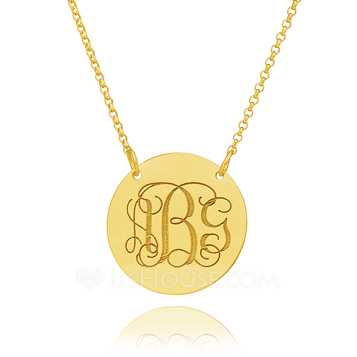Custom 18k Gold Plated Silver Engraving/Engraved Circle Coin Three Monogram Necklace Circle Necklace - Christmas Gifts