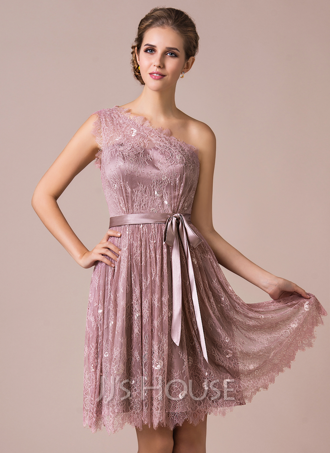 A-Line One-Shoulder Knee-length Charmeuse Lace Bridesmaid Dress