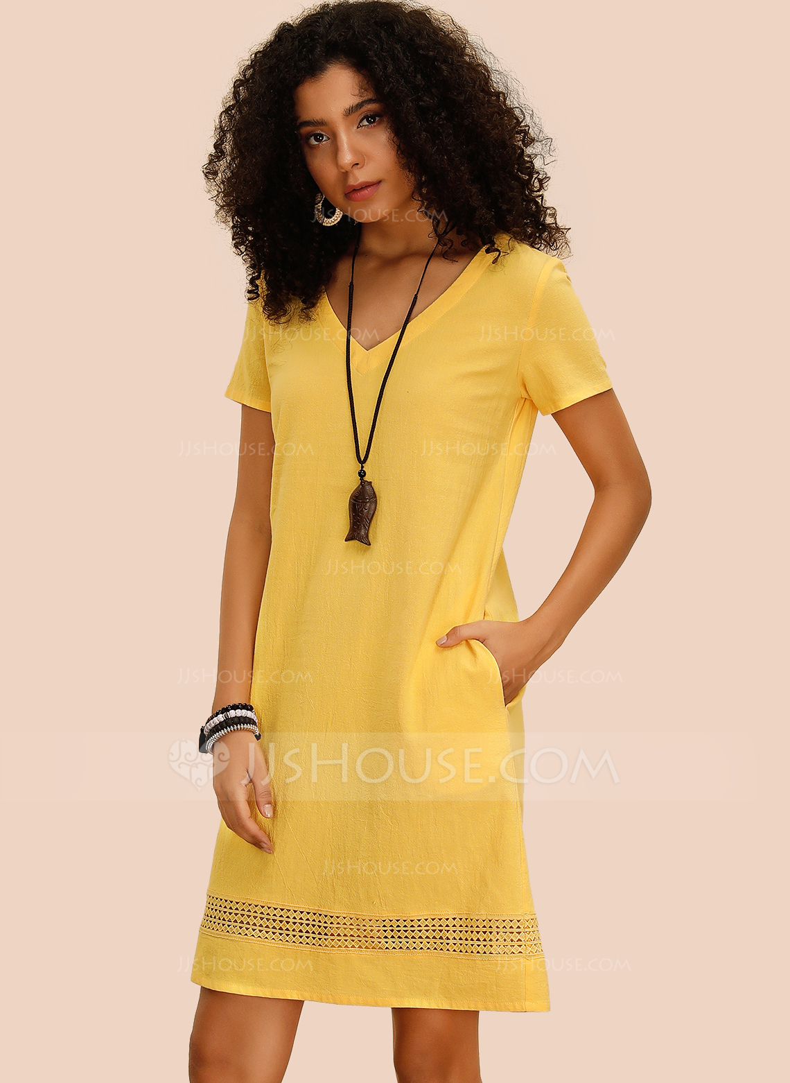 Cotton With Hollow/Solid Above Knee Dress