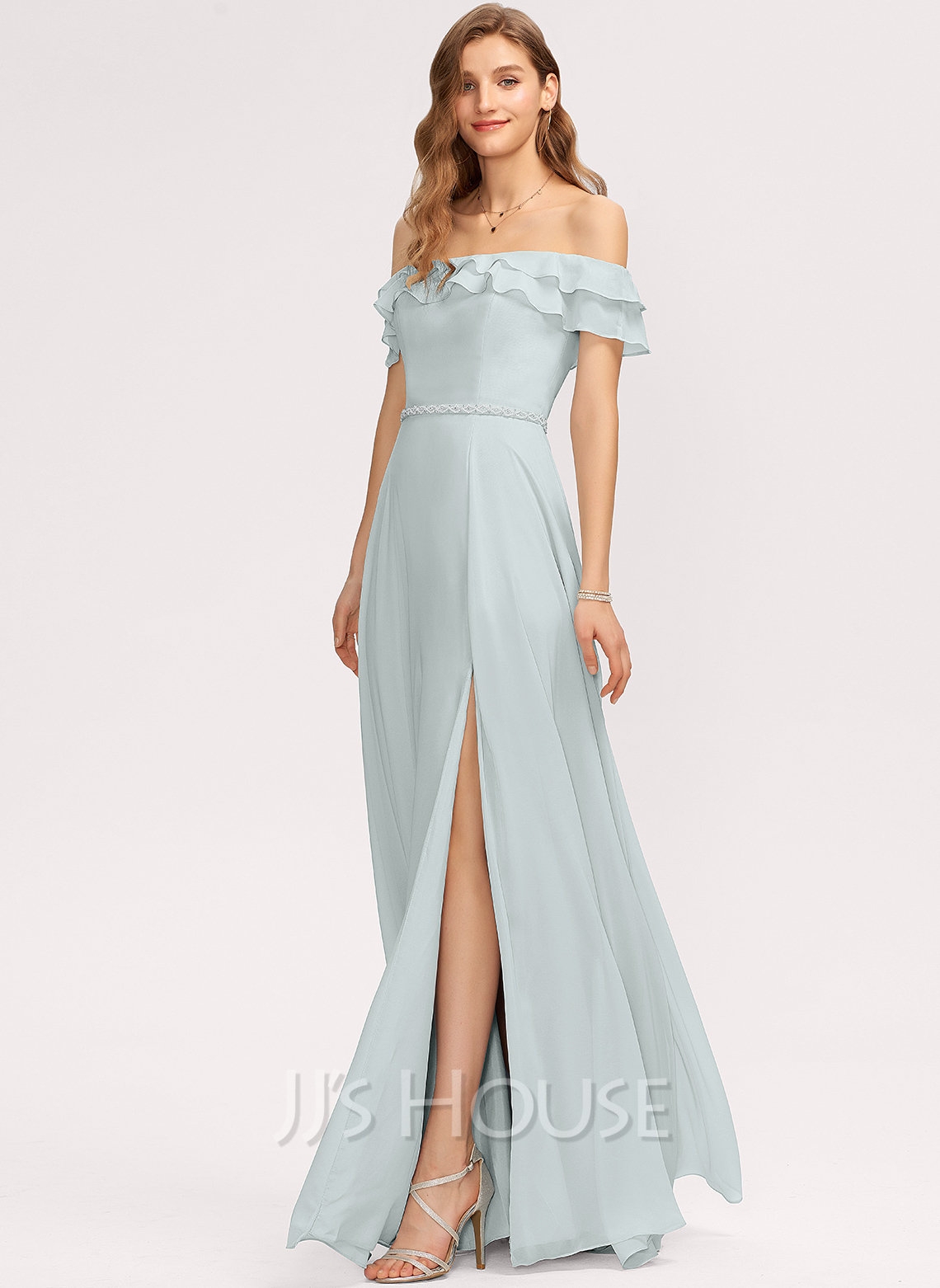 Off-the-Shoulder Floor-Length Chiffon Bridesmaid Dress With Beading Split Front Cascading Ruffles