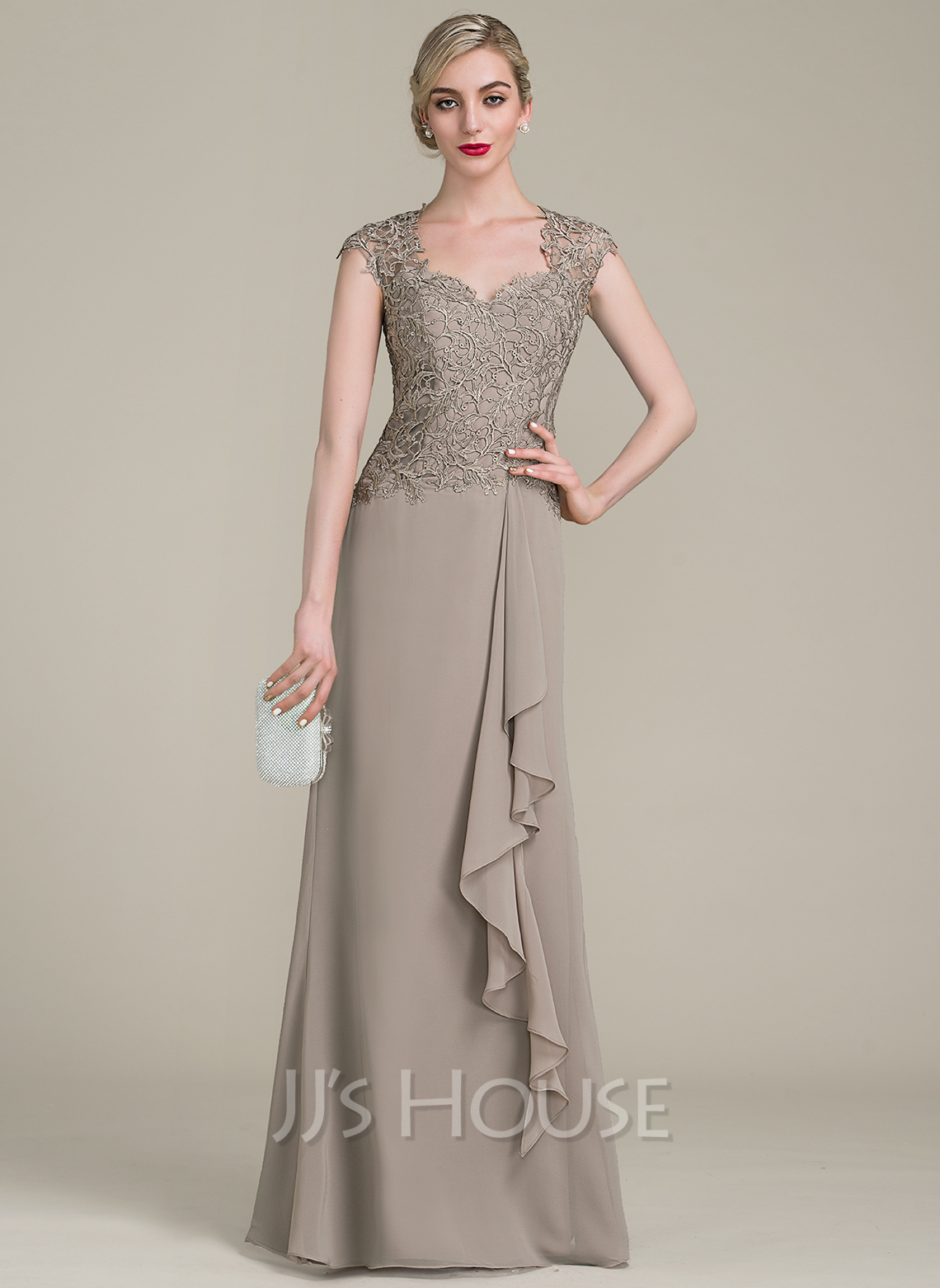 Sweetheart Floor-Length Chiffon Lace Mother of the Bride Dress With Cascading Ruffles