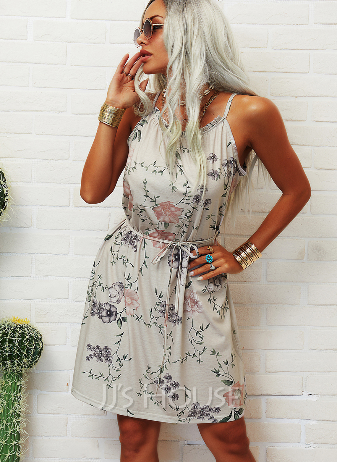 Floral Print A-line Round Neck Sleeveless Midi Casual Vacation Skater Dresses