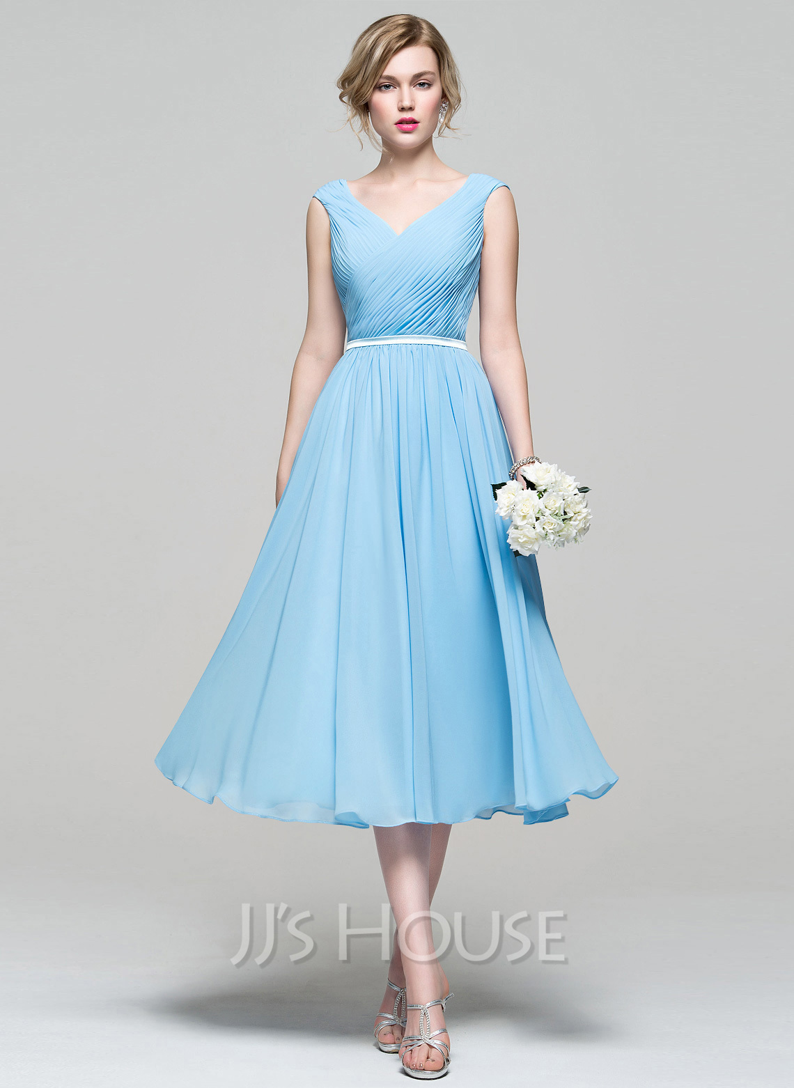 A Line Princess V Neck Tea Length Chiffon Bridesmaid Dress With Ruffle Loading Zoom