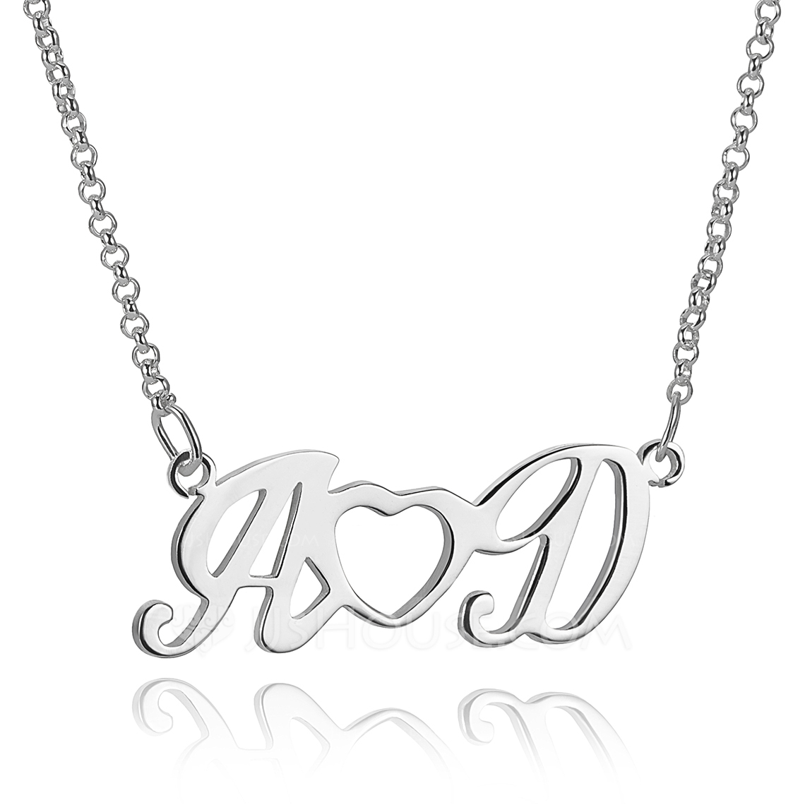 Custom Sterling Silver Simple Two Initial Necklace With Heart - Birthday Gifts Mother's Day Gifts