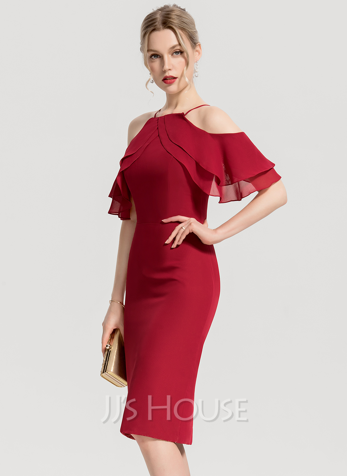 528dde0a520 Sheath Column Square Neckline Knee-Length Chiffon Cocktail Dress With  Cascading Ruffles. Loading zoom