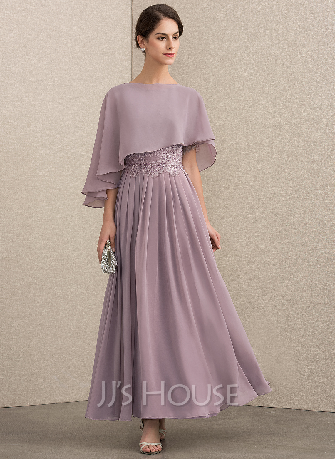 Scoop Neck Ankle-Length Chiffon Lace Mother of the Bride Dress