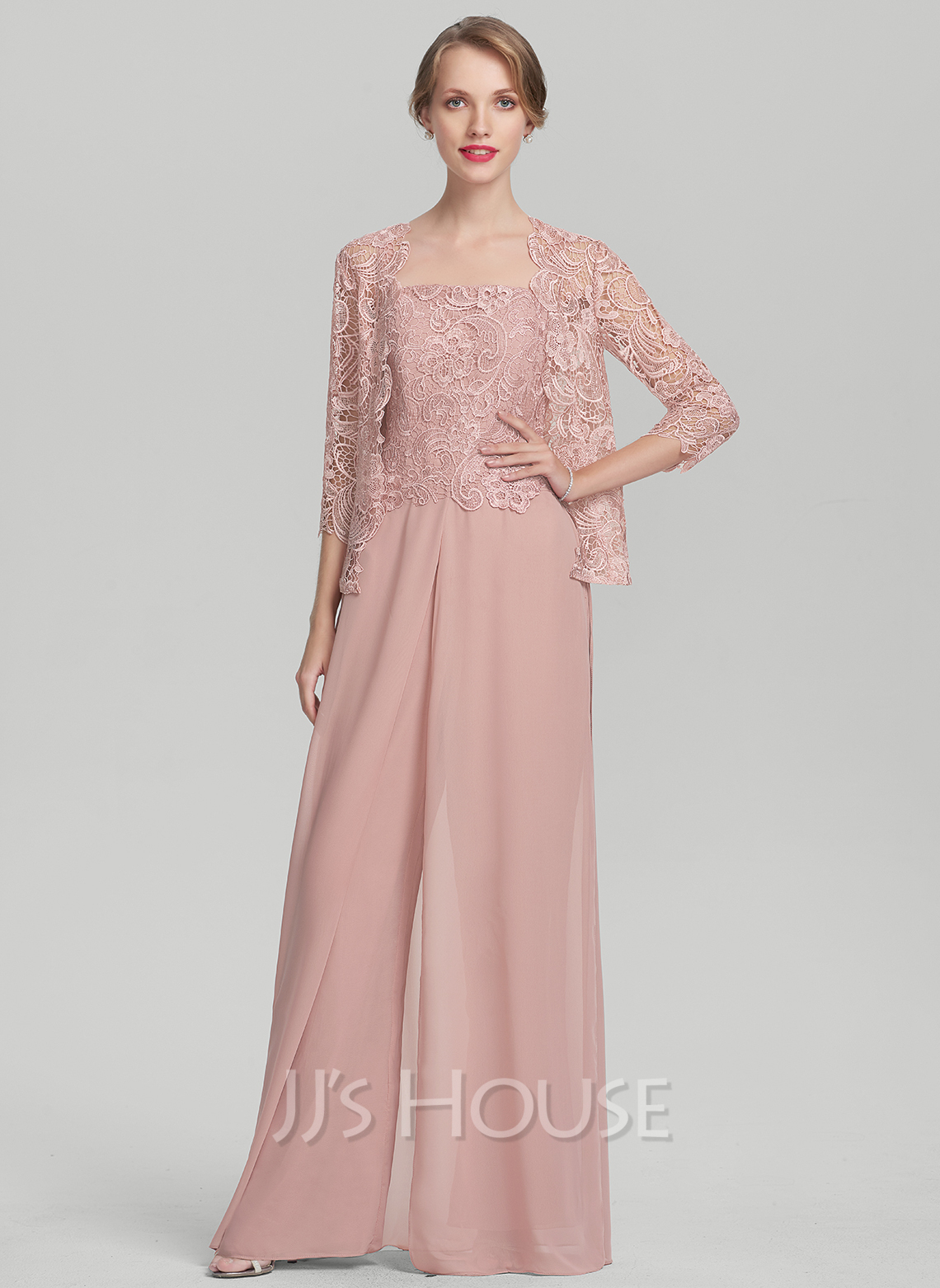 Square Neckline Floor-Length Chiffon Lace Mother of the Bride Dress ...