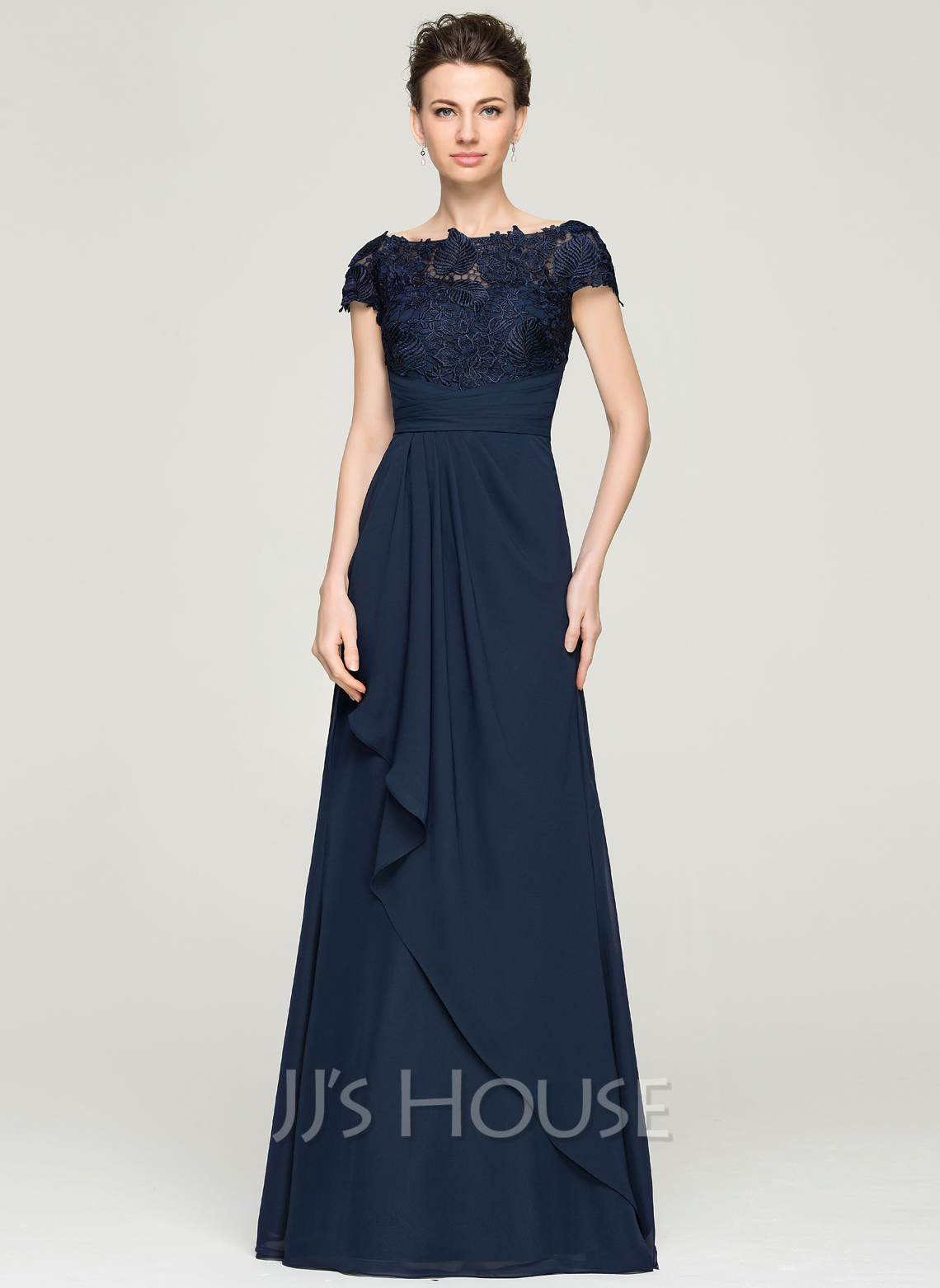 A line princess off the shoulder floor length chiffon lace for Floor length gowns